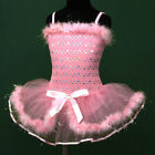 p011 UsaG gi4 Birthday Halloween Pink Ballet Girls TuTu Leotard Dance Dress 3-8y