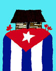 1774.Cuban flag mountain with house on top of it quality POSTER. Decorative Art.