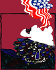1795 .American flag comes out of  mouth quality POSTER. Animated Decorative Art.