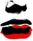 1973.REd and black lipstick woman's sexy smear POSTER.Home interior design art.