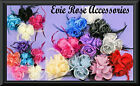 New 3 Rose Bud Flower Cluster Corsage & Feather Fascinator Wrist Hair Clip & Pin