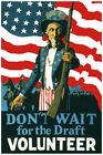 2976.Don't wait for the draft volunteer.Army POSTER.Military Home decor interior