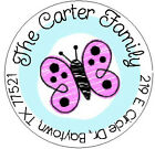 CUTE PINK BUTTERFLY -  Round Return Address Labels