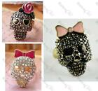 AUTH BETSEY JOHNSON vintage CRYSTAL SKULL RING rose/bow diamante BLACK/AB size N