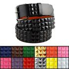 3-Row Metal Pyramid Studded Leather Belt Unisex Punk Rock Goth Emo Biker Skater