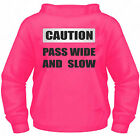 Hi Vis Viz Safety Hoodie CAUTION PASS WIDE AND SLOW printed on Reflective