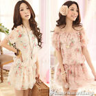 Women's Sexy Chiffon Sweet Princess Floral Flat Shoulder Summer Mini Dress #429