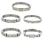 Masculine Heavy Men's Stainless Steel Bracelet with Cubic Zirconia CZ 8""