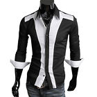Retro Patched Style Mens Casual Dress Slim Fit Shirts Long Sleeve Formal