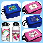 CHILDRENS BOYS GIRLS KIDS PERSONALISED SCHOOL LUNCH BOX COOL BAG +OPTIONAL BOTTL