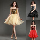 sexy Gold Sequin Charm Formal Short Bridal Prom Cocktail Party Evening Dress