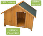 WOODEN PET DOG PUPPY HOUSE KENNEL OUTDOOR SHELTER APEX ROOF - SMALL TO LARGE