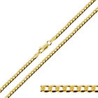 "9ct Gold Plated on Sterling Silver 16 - 30"" 3.2mm Curb Link Chain Necklace"