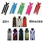 Adjustable Braces / Suspenders Unisex Fancy Dress Neon / Check / Polka Available