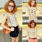 Women Girl Short Sleeve Animal Prints Casual Summer Chiffon Shirt Blouse Tops