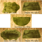 NEW SOFT FLUFFY PLAIN WASHABLE SOFT GREEN COLOUR FAKE FAUX FUR SHEEP SKIN RUG