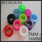 2MM-16MM SCREW BACK EAR TUNNEL FLESH PLUG ACRYLIC TAPER FLARE BLACK WHITE PLUGS