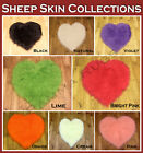NEW MULTI COLOUR FLUFFY WASHABLE SOFT PLAIN  FAKE FAUX FUR HEART SHEEP SKIN RUGS