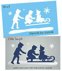 STENCIL Winter Sledding Vintage Kids Children Snowflake Snowday Fun Sign u paint