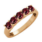 1.10 Ct 5-Stone Round Red Rhodolite Garnet Gold Plated Sterling Silver Ring