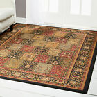 TRADITIONAL BURGUNDY BLACK BEIGE FLORAL AREA RUG PERSIAN PATCHWORK BORDER CARPET