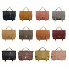 Fashion Women's Leather like Retro Postman Flap Briefcase Satchel Shoulder Bag