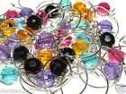 10 Silver Wine Glass Charms / Assorted/Mixed Acrylic Globe Beads / Choose Color