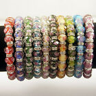 Wholesale 10 Color Select Alloy Crystal Faceted Glass Lampwork Cuff Bracelets