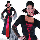 Womens Long Gothic Spider Vampire Countess Fancy Dress Halloween Costume