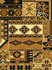 SOUTHWESTERN black BEIGE tan PATCHWORK native AMERICAN icon LODGE area RUG