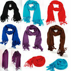 Fashion Lady Girls Pure Color Soft Pashmina Tassel Wrap Long Scarf Shawl Stole