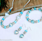 Blue Sparkling Crystal Silver Charm Fashion Necklace Bracelet Earring For Women