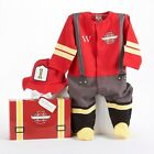 Monogram Baby Firefighter Costume Shower Gift Layette Set Boy 0-6 months