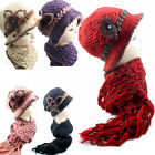 Ladies Classic Knitted Hat and Scarf Set Warmth Lining Soft Wool Handmade