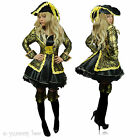 Pirate Fancy Dress Gold Black Costume Ladies Outfit Captain Buccaneer Sword Sexy