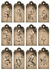 Christmas Alice in Wonderland scrapbooking tags grunge crafts set of 12