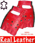RED Studded Fingerless LEATHER Biker Punk Goth Wheelchair Driving Cycling Gloves