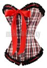 Sexy Tartan Plaid Corset S-2XL Bow Ruffle Bustier  Remarkable MMS-A3006_red