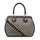 Large PU Hand Bag with 2 Toned Laser Cut in Black, Red or Beige