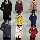 Men's Double Breasted Warm Jacket Trench Coat Slim Peacoat Blazer S/M/L/XL/XXL
