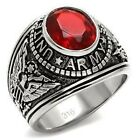 STAINLESS STEEL MENS SIMULATED RUBY RED US ARMY MILITARY RING SZ 8,9,10,11,12,13
