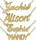 9ct Solid Yellow Gold Small ANY Name Plate Necklace With Chain In Gift Box