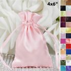"120 pcs 4"" x 6"" SATIN FAVOR Drawstring BAGS - Gift Pouches Packaging Cheap"