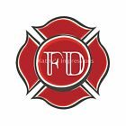Fire Fighter Red Rescue Department Emblem~Firemen Fabric Quilt Block- Style #2