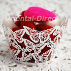 60 Laser Cut Butterfly Cupcake Wrappers Wraps Wedding Tea Party White Cream