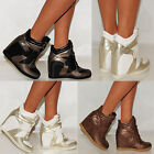 FASHION VELCRO STRAP HIGH HI TOP SNEAKERS LADIES RETRO WEDGE TRAINERS SHOES 3-8