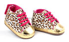 Baby Girl Leopard Gold Crib Shoes Walking Sneaker Size 1 2 3