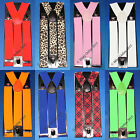 UNISEX TROUSER BRACES 35mm WIDE ADJUSTABLE SUSPENDER FANCY DRESS FASHION CLIP ON