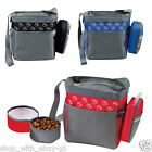 PAW DESIGN PET DOG TRAVEL SHOULDER BAG & COLLAPSIBLE FEEDING FOOD & WATER BOWLS