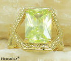 Square Peridot Green Sapphire 925 Solid Sterling Silver & GP18K Gold Ring size.8